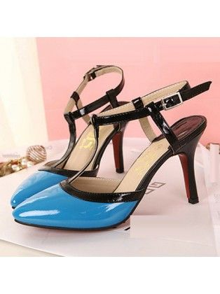 Faux Leather Pointed Toe T Strap