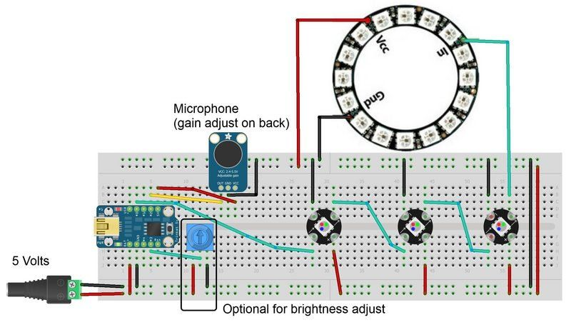 build the circuit trinket sound reactive led color organ rh