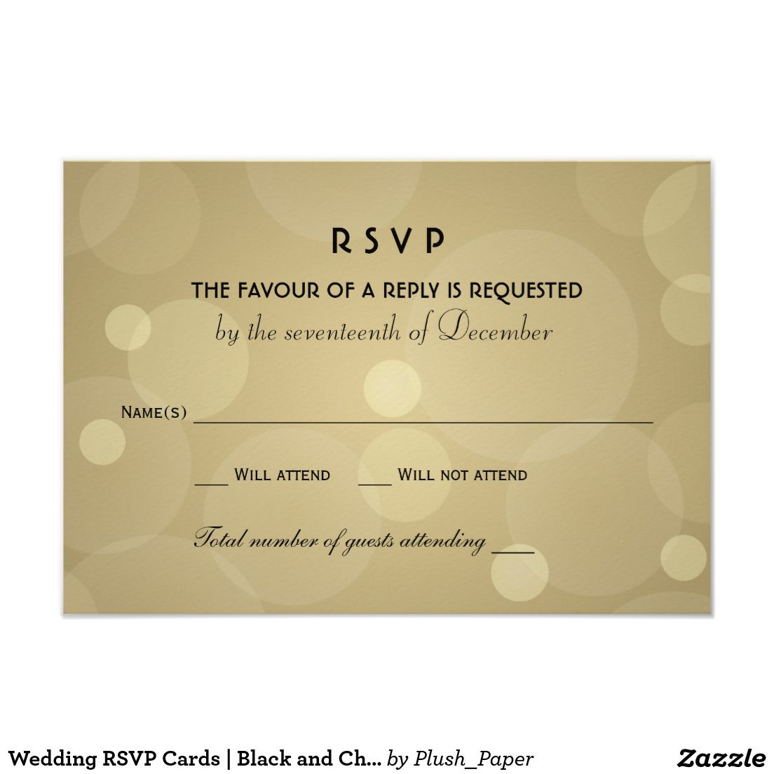 Wedding RSVP Cards Black and Champagne Gold
