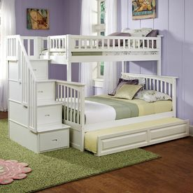 Atlantic Furniture Columbia White Twin Over Full Bunk Bed Ab55732