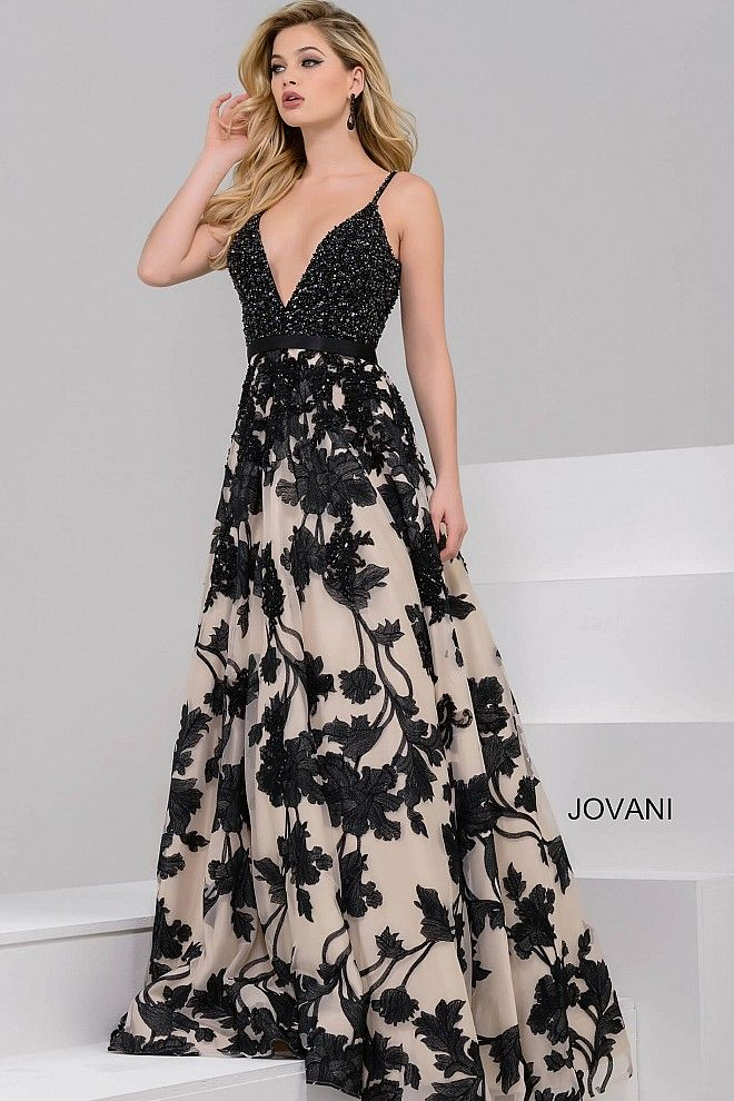 Gorgeous floor length A-line evening dress features fully beaded black  bodice with spaghetti straps 90a806030