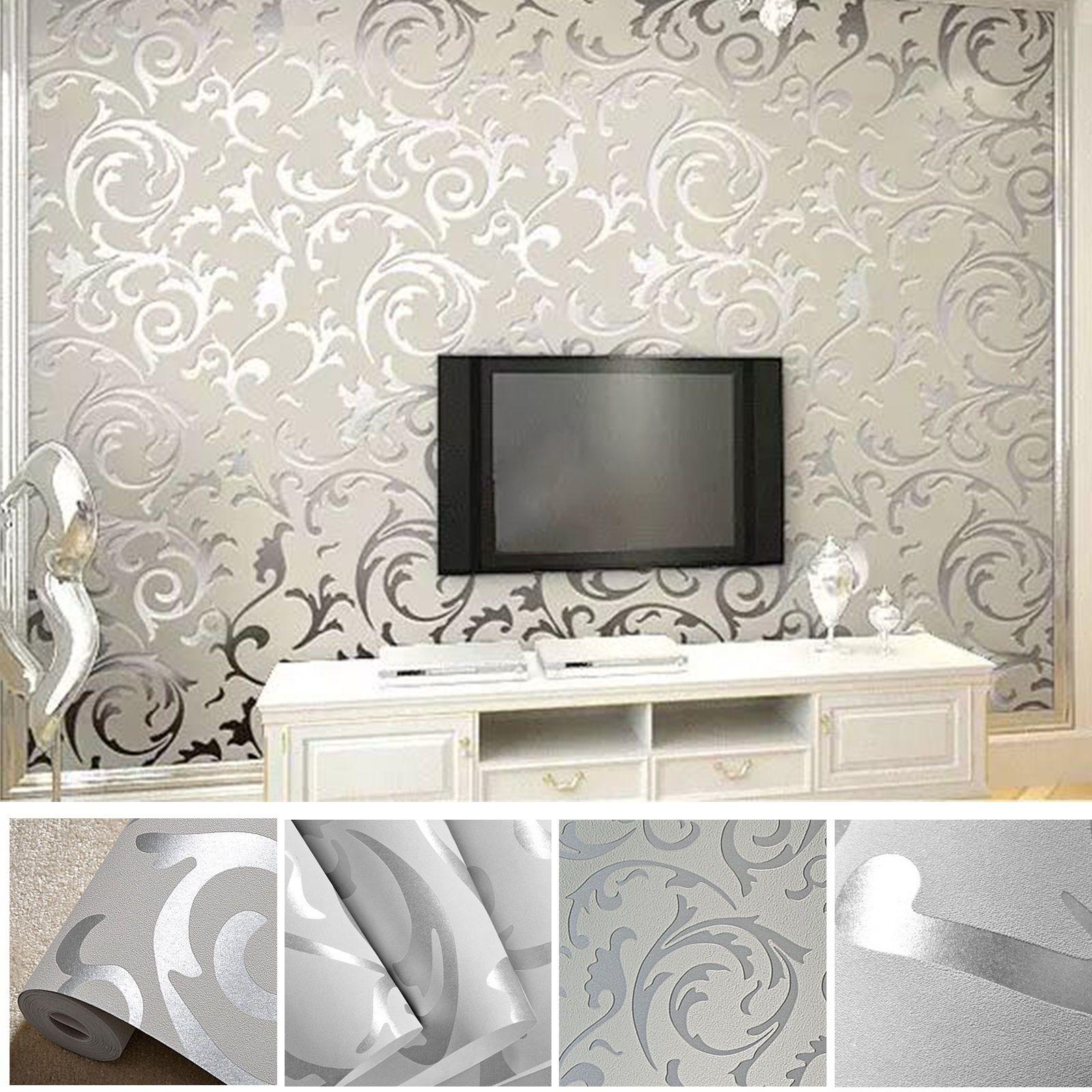 Vliestapete 3D Optik Vlies Wand Tapete Barock Rolle Wandtapete Dekoration  Silber