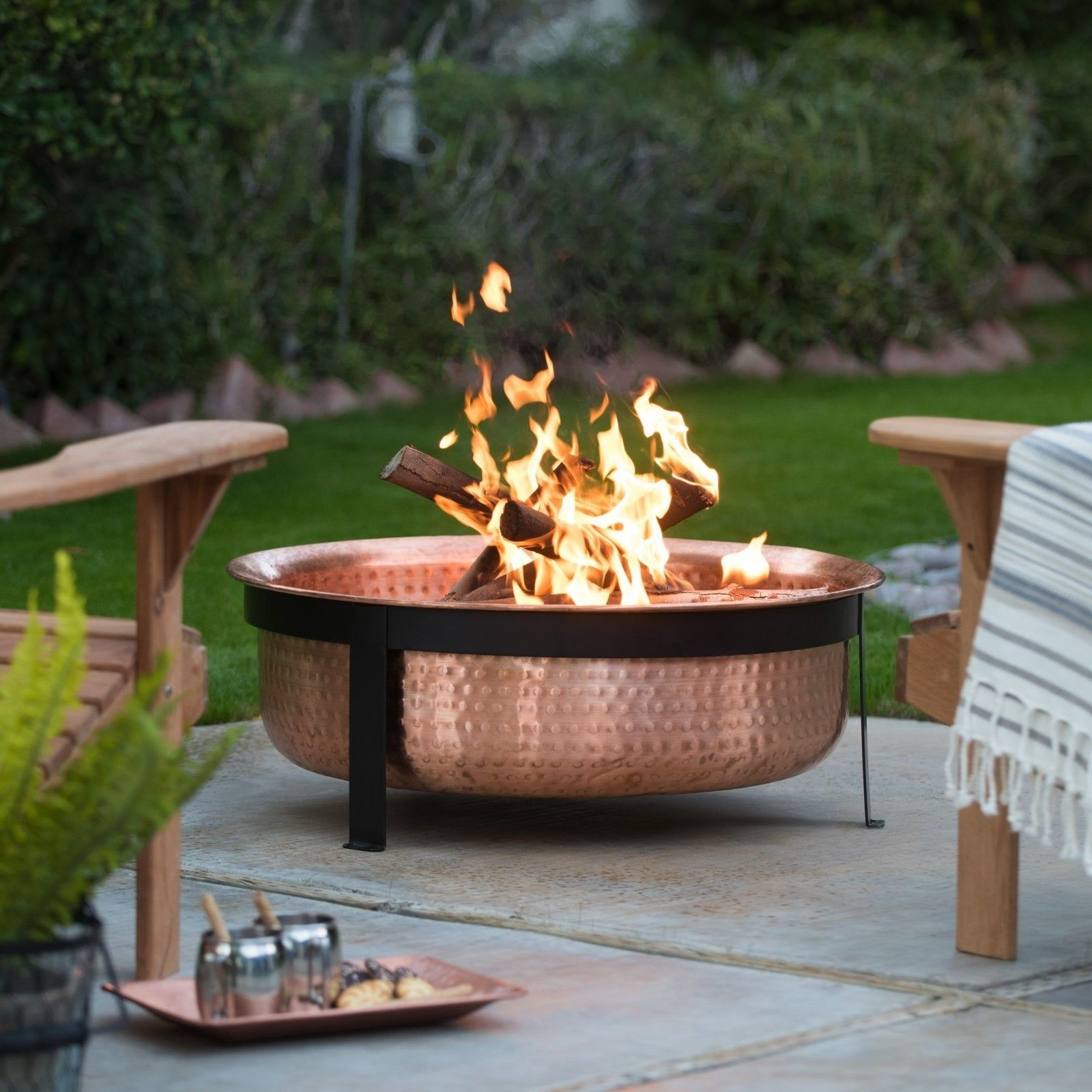A Gorgeous Hammered Copper Fire Pit So You Can Make Marshmallow Roasting Seem Like A Michelin Star Kind Of Meal Outdoor Fire Pit Outside Fire Pits Wood Burning Fire Pit