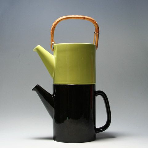 """""""Colorado"""" stackable coffee and teapot. Stig Lindberg for Gustavsberg."""