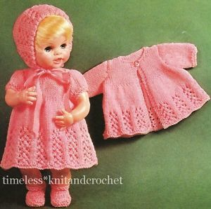 Free Knitting Patterns For Doll Clothes 18 Ins : Vintage Knitting Pattern Baby Doll Clothes Hat Dress Coat Bootees14 16 Patter...