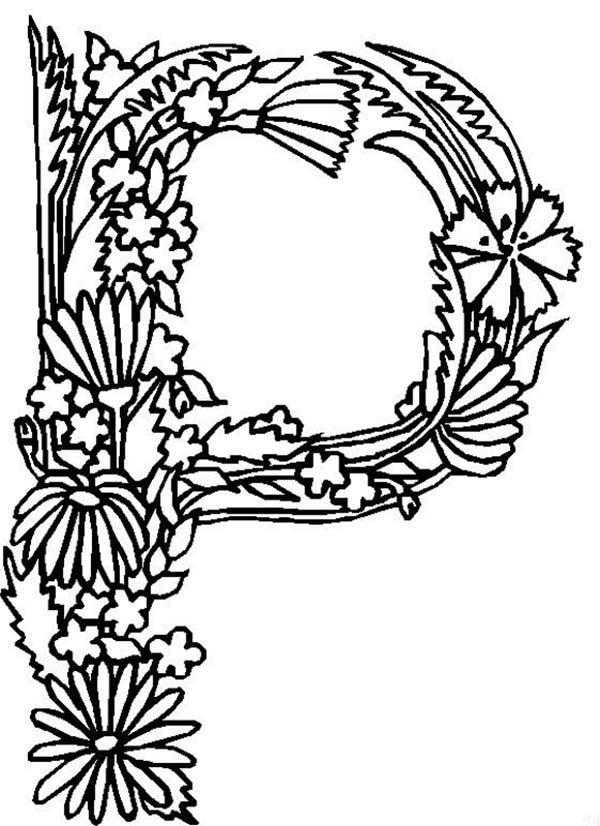 Alphabet Flowers, Alphabet Flowers Letter P Coloring Pages