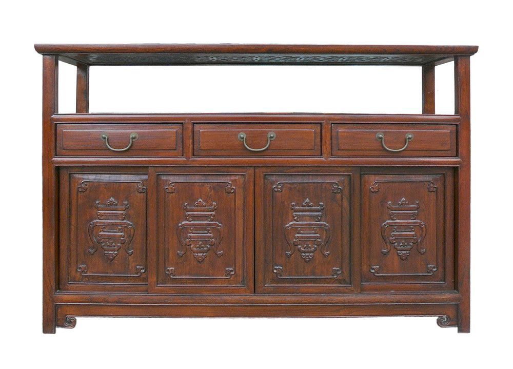 Credenza Console : Chinese glass top high credenza console buffet table cabinet cs1242e