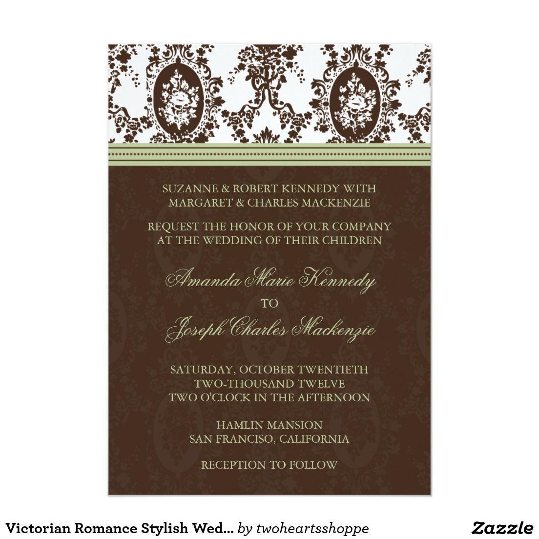 Victorian Romance Stylish Wedding Invitation Victorian Wedding