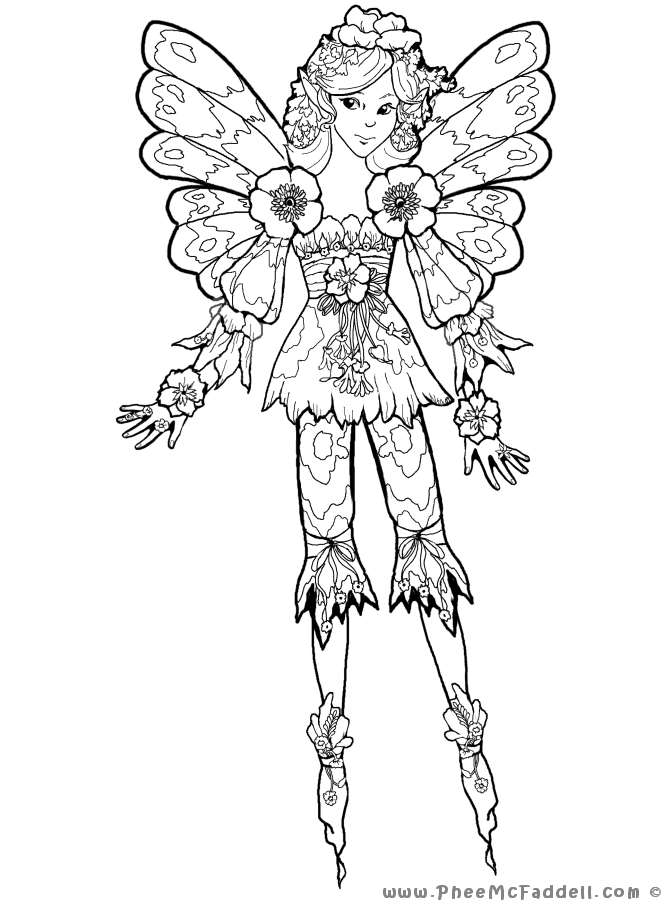 Lilah Fairy www.pheemcfaddell.com | Fantastical Coloring pages ...
