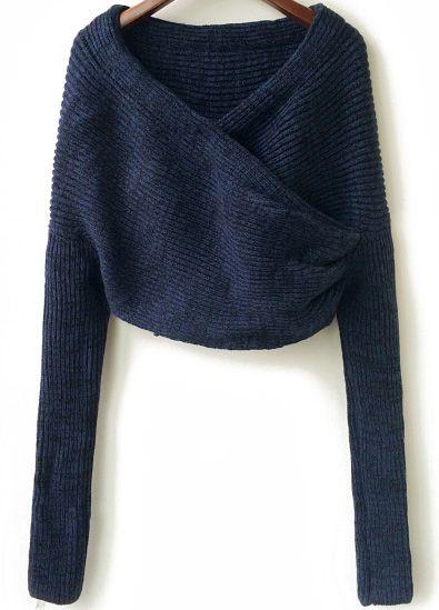Jersey punto crop manga larga-azul 20.70