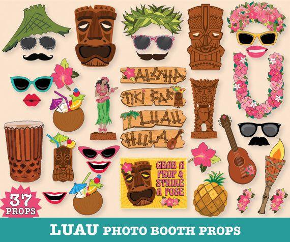 Luau Photo Booth Props Hawaiian Beach Party Tropical Wedding Birthdays Summer Printable Diy Pdf 37 6 99
