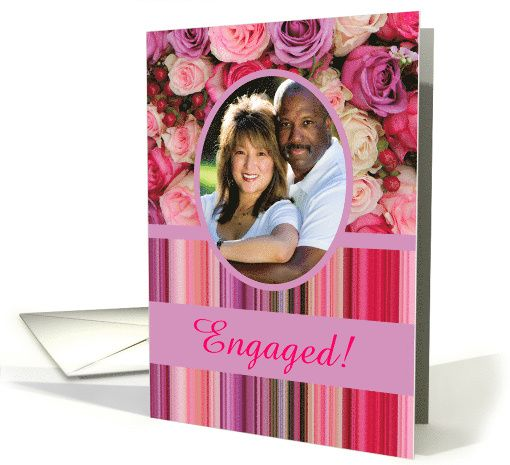 Engagement Announcement Custom Front Pastel Roses Stripes Card Wedding Anniversary Cards 41st Wedding Anniversary 30th Wedding Anniversary Card