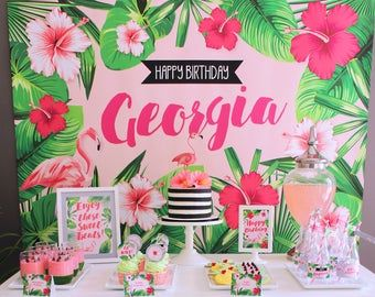 FLAMINGO Printable Set - Tropical Birthday Party - Non-personalized - Includes Cupcake Toppers, Bunting, Bottle Labels and more #tropicalbirthdayparty