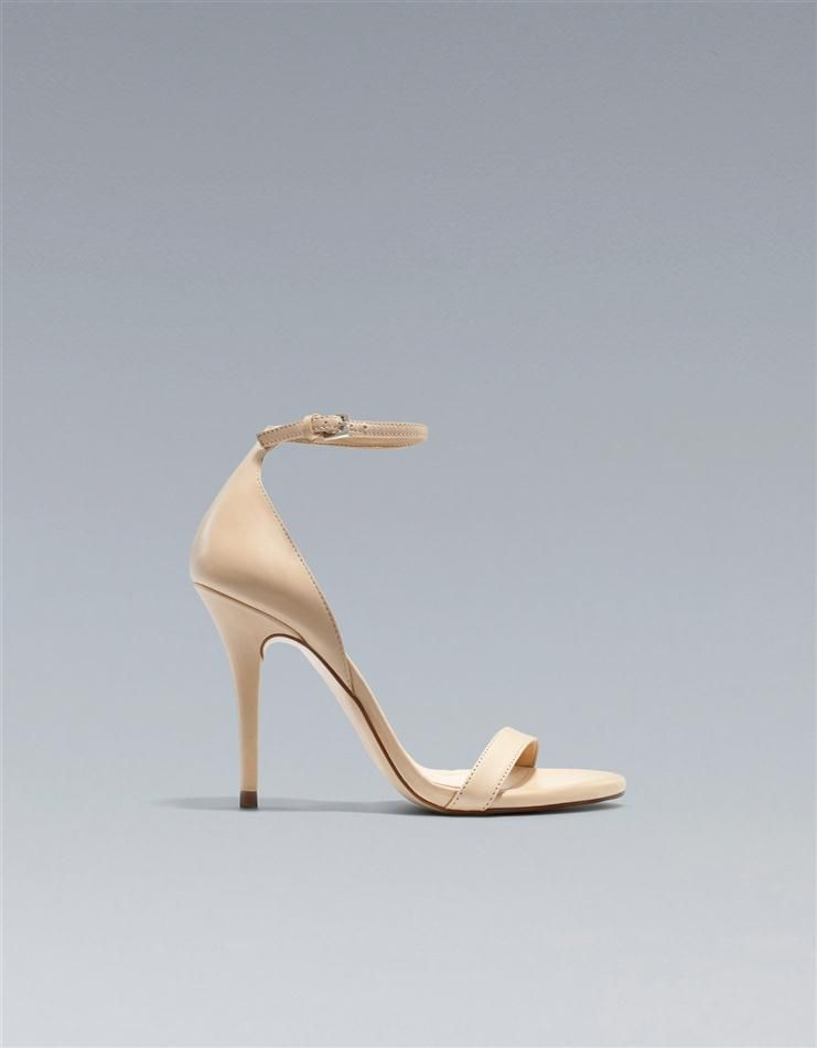 ecb849c3a69 Gorgeous!! bnwt!! zara leather thin strap nude sandal high heels uk ...