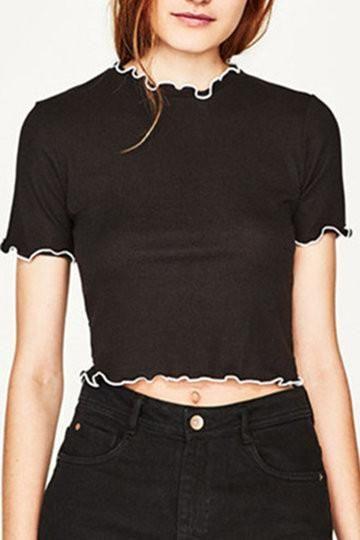 74cbf8685df Black Round Neck Short Sleeve Lettuce Edge Crop Top Shirt | All ...