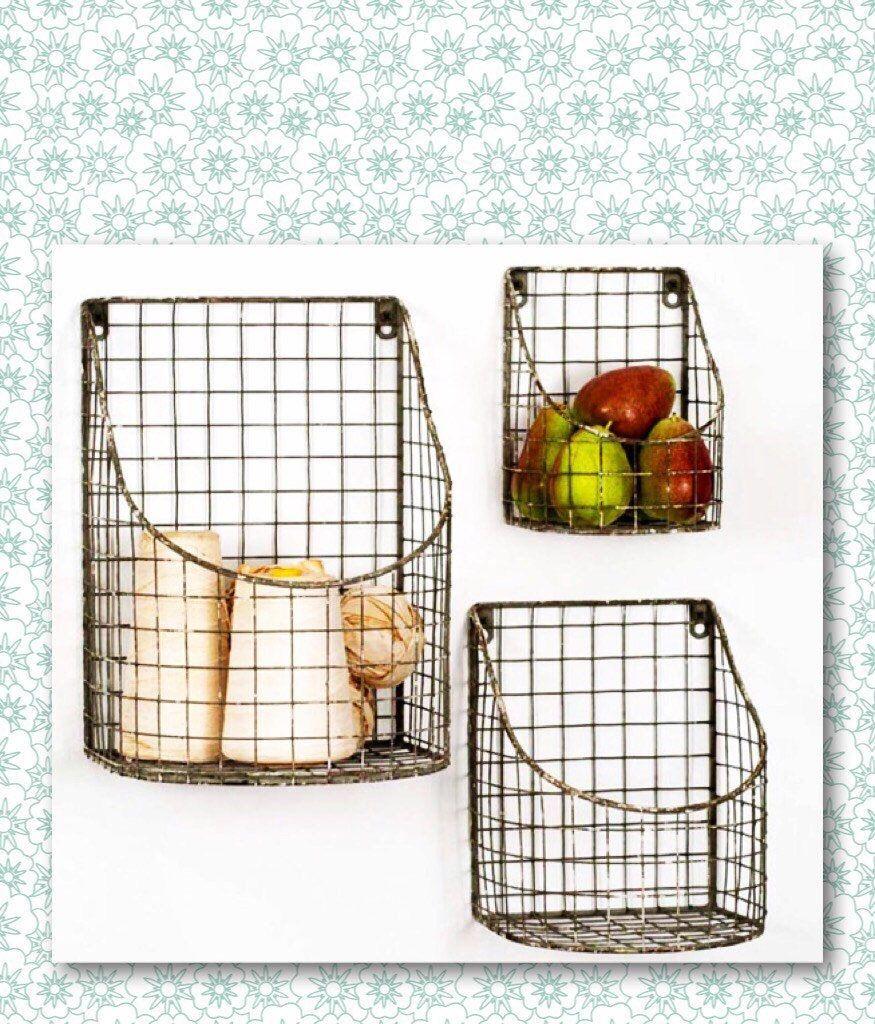 Metal wall baskets wire wall baskets wire baskets wall metal wall baskets wire wall baskets wire baskets wall pockets vintage kitchen vintage farmhouse gardening indoor decor amipublicfo Gallery
