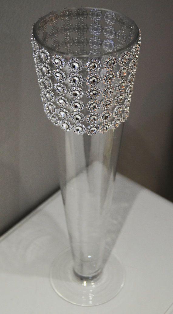 Rhinestone Trumpet Vase Wedding Centerpiece Bling Wrapped Luxury