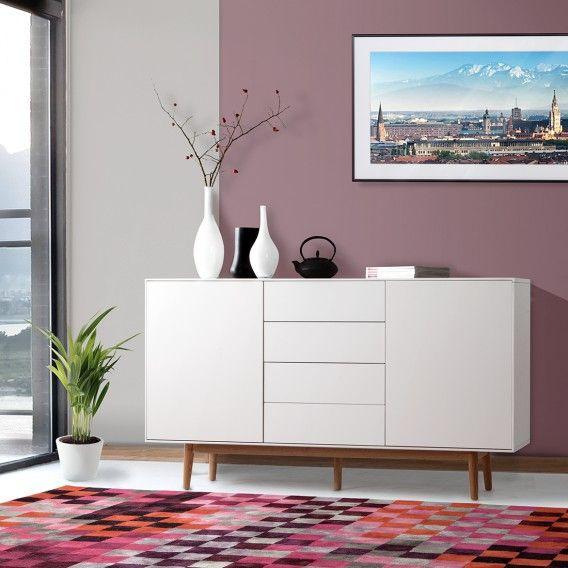 Sideboard Lindholm IV - Eiche teilmassiv - Weiß Home24 retro
