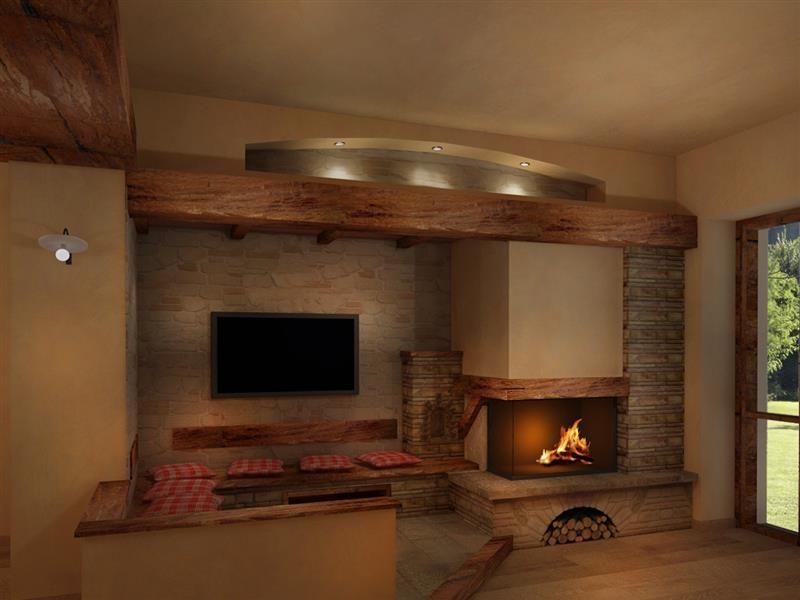 Soggiorno rustico ~ Render camini rustici 9 fireplace in the living room