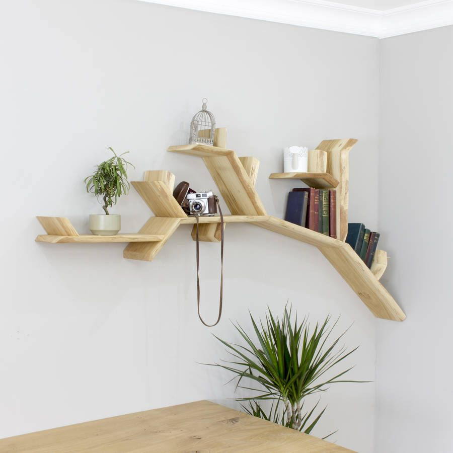 Handmade Oak Tree Branch Wall Shelf Tree Bookshelf Wall Shelves Design Shelf Design