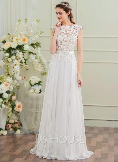 A-Line/Princess Scoop Neck Sweep Train Chiffon Wedding Dress With Bow(s) (002107557) - JJ's House