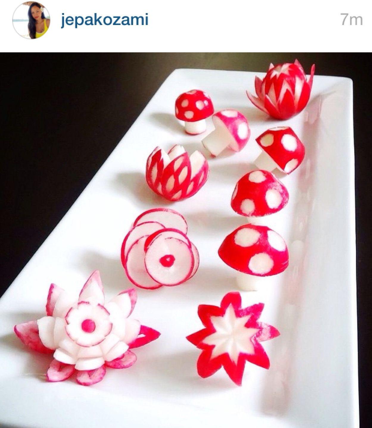 Radish carving garnish pinterest carving food art and food