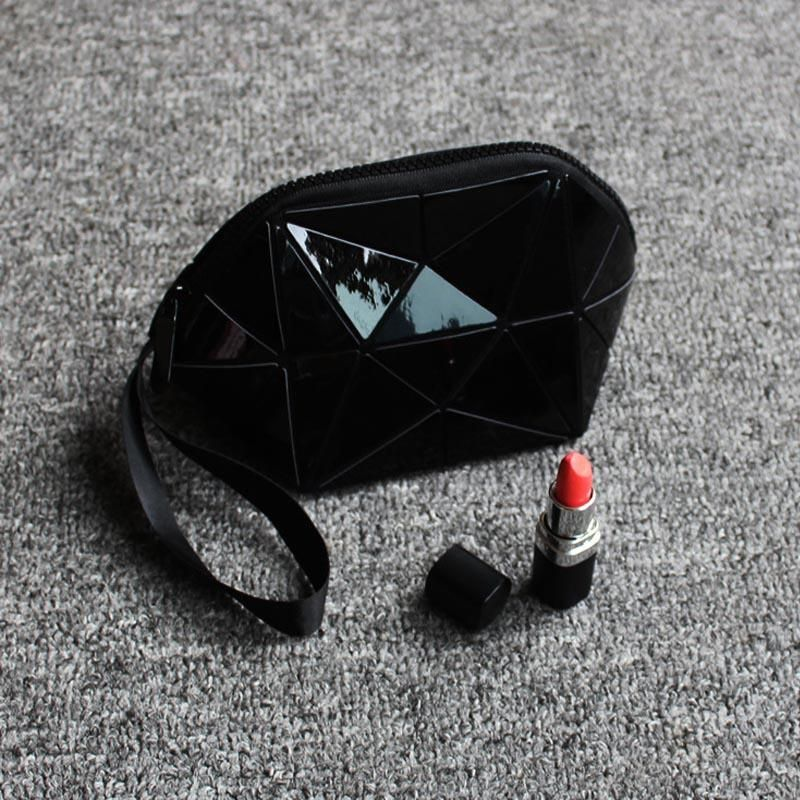 New Geometric Zipper Cosmetic Bag Women Luminous Makeup