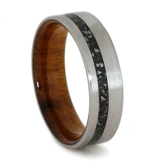 Custom Made Ironwood Burl Titanium Ring Featuring Sleeve