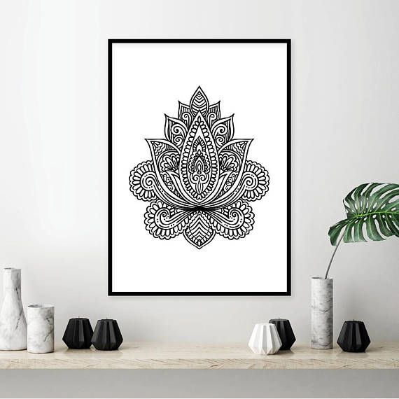 Printable art black white art lotus minimalist poster geometric mandala boho yoga print sacred geometry art poster print wall art these are