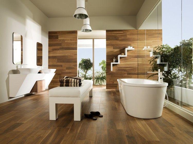 parquet salle de bain baignoire design banc en blanc neige et meuble sous vasque