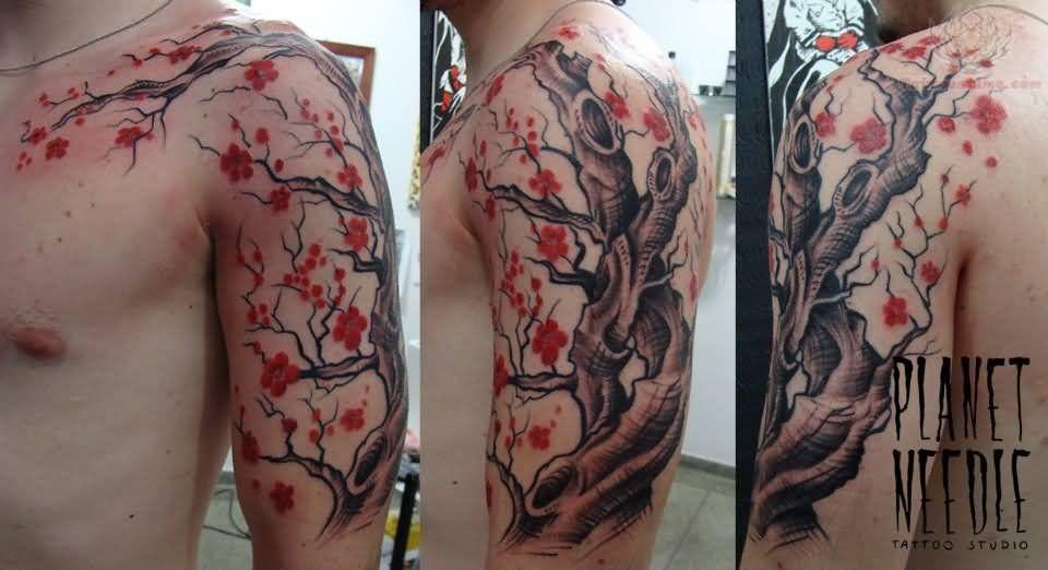Cherry Blossom Flowers Tree Tattoo On Bicep And Chest Jpg 960 522 Tree Tattoo Men Bonsai Tree Tattoos Tree Tattoo Chest