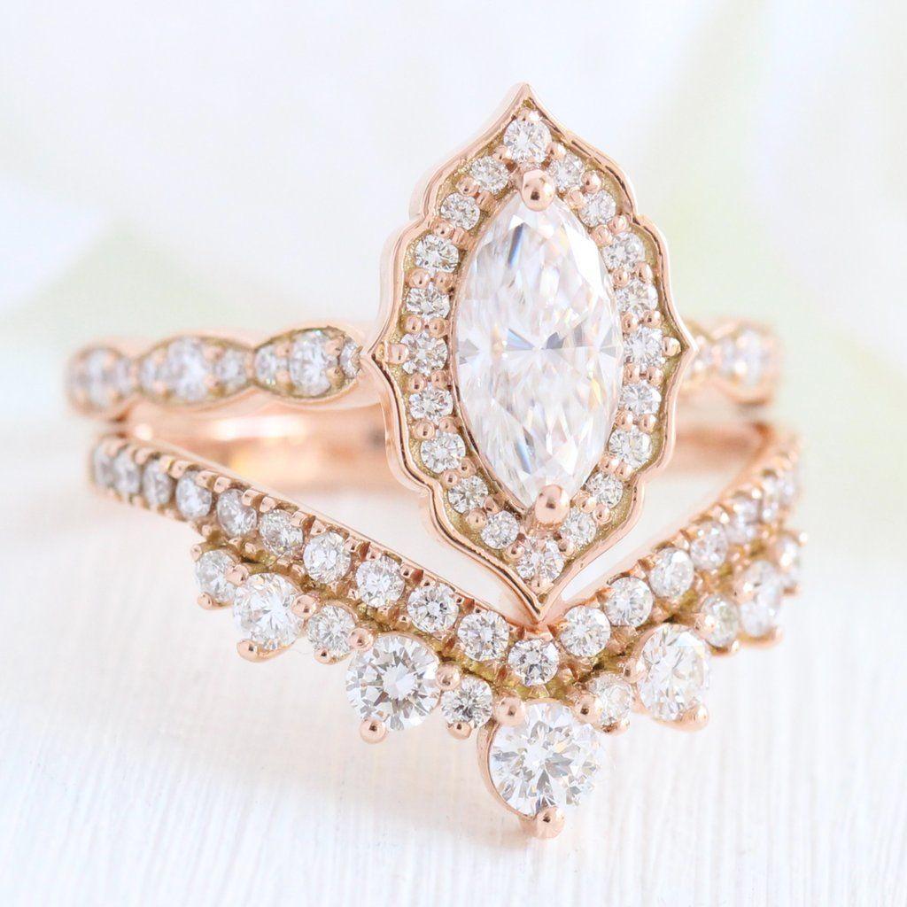 Vintage Floral Bridal Set W Marquise Moissanite And Large Tiara Diamond Band Wedding Rings Vintage Engagement Rings Marquise Diamond Alternative Engagement Ring