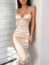 Ladder Cutout Deep V Bodycon Dress - Champagne | 8457