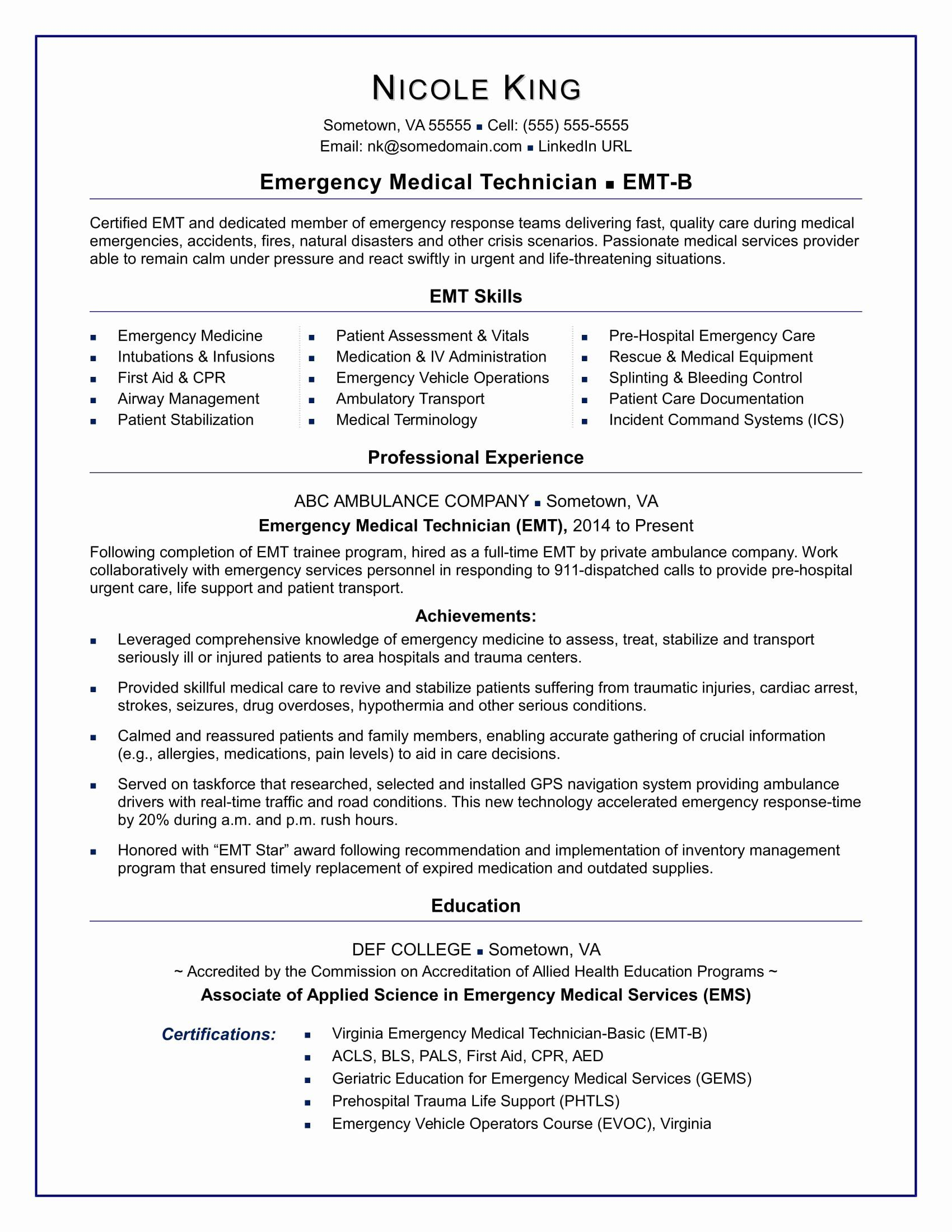 Emt Job Description Resume Beautiful Emt Resume Sample In