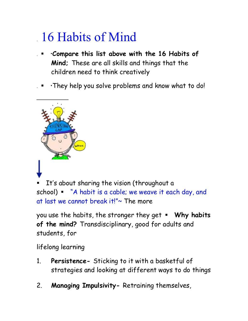 16 Habits Of Mind Student By S J Via Slideshare