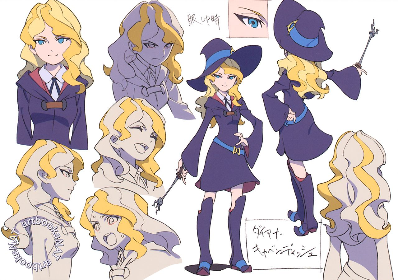 Fullcolor character designs for Little Witch Academia