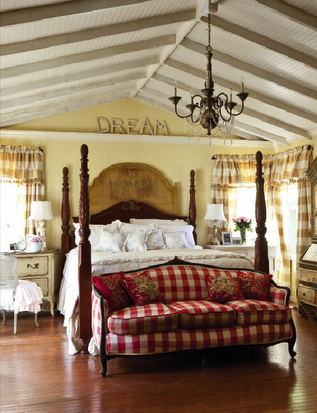 Adore This Red Buffalo Check Sofa At The End Of Bed Along With Cathedral Ceiling