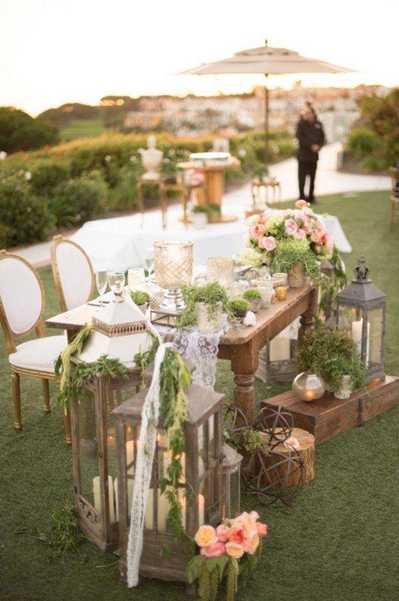 Lovely Lantern Sweetheart Table Decor Deerpearlflowers Top 20 Rustic Country Wedding Ideas 4