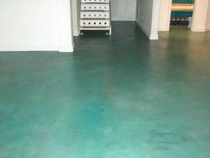 blue acid stained concrete