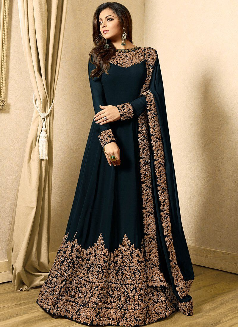 e0455fe01e Embroidered Dark Teal Georgette Abaya Style Suit in 2019 | Abaya ...