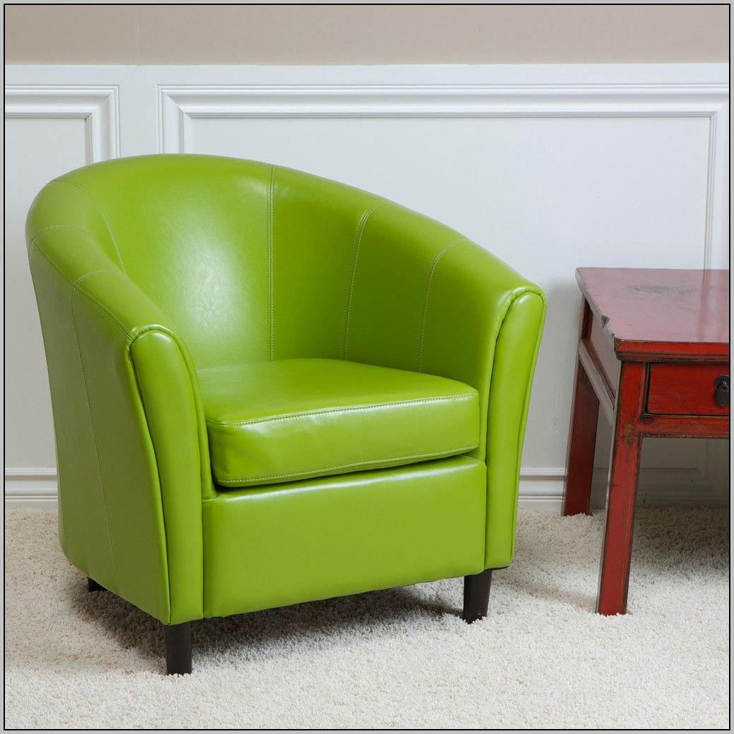 Painting of Cool Lime Green Accent Chair Green leather