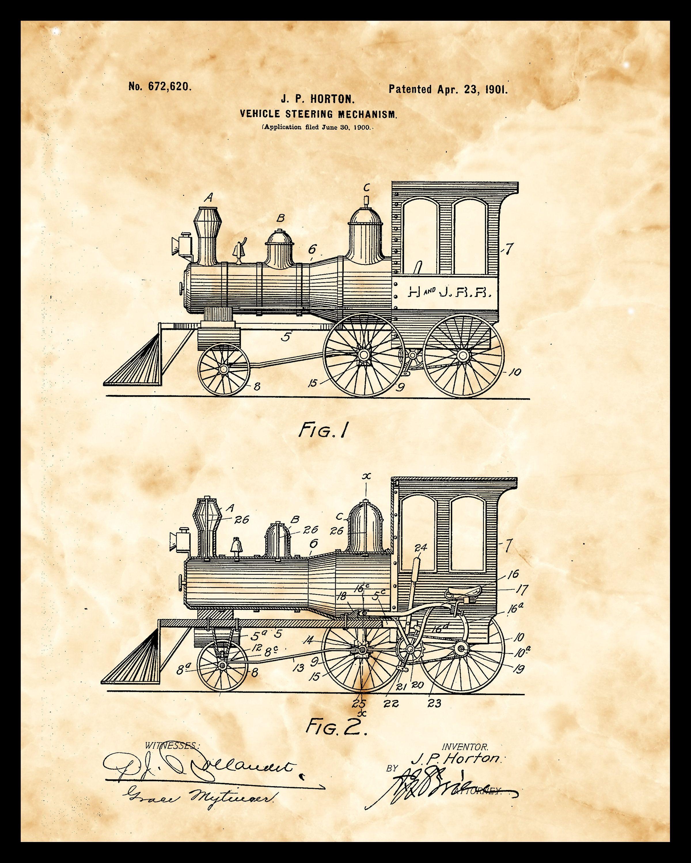 Patent print 1901 railway wall art train