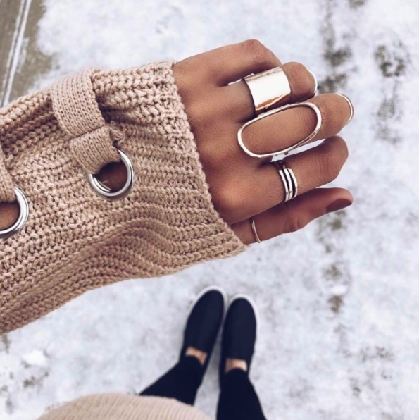 layered rings, crozy sweater, dainty jewelry, outfit details, fashion blogger