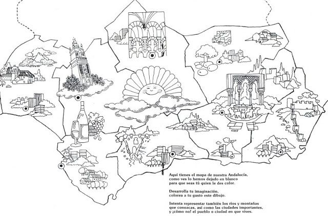 Mapa Significativo B N Jpg 640 422 Pixeles Mapa De Andalucia Dia De Andalucia Andalucia