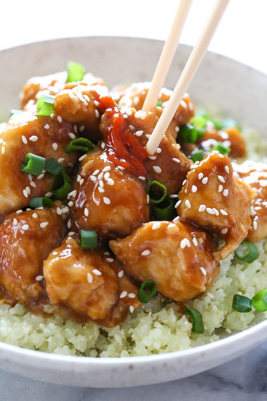 This lighter General Tso s Chicken is made with chunks of white