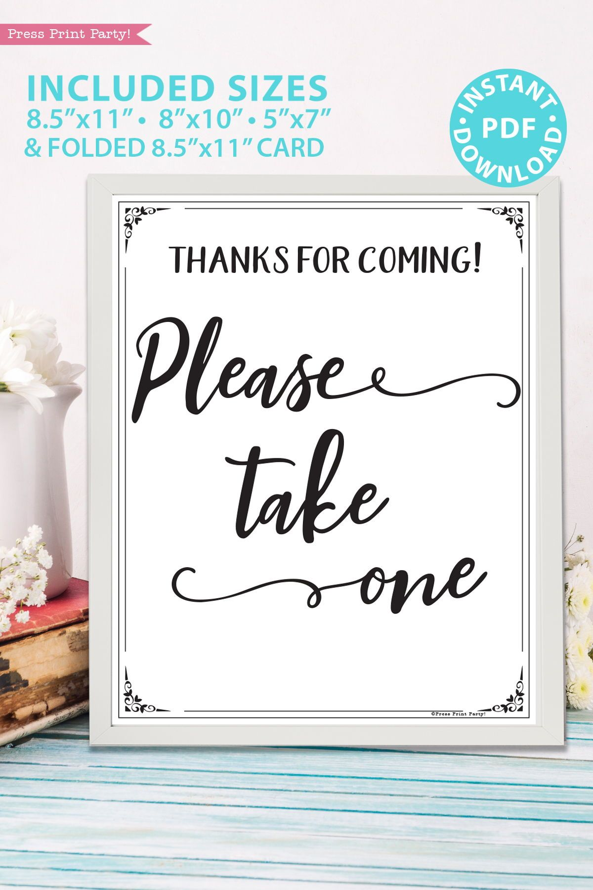 Please Take One Sign Printable Rustic In