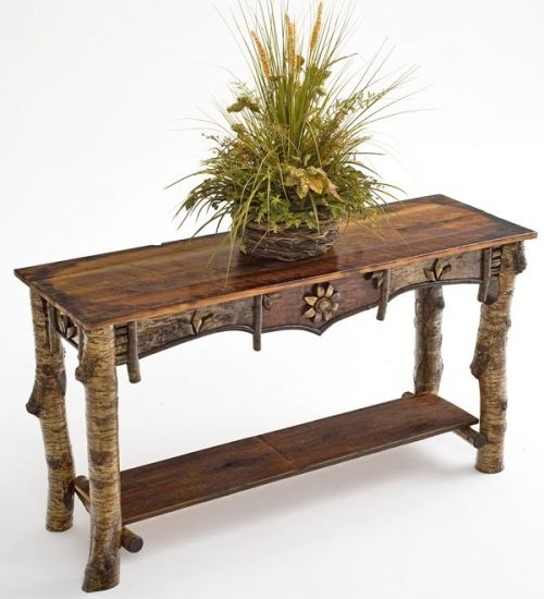 Elegant Birch Bark Sofa Table, Adirondack Style   Woodland Creek Furniture    Woodlandcreekfurniture.com