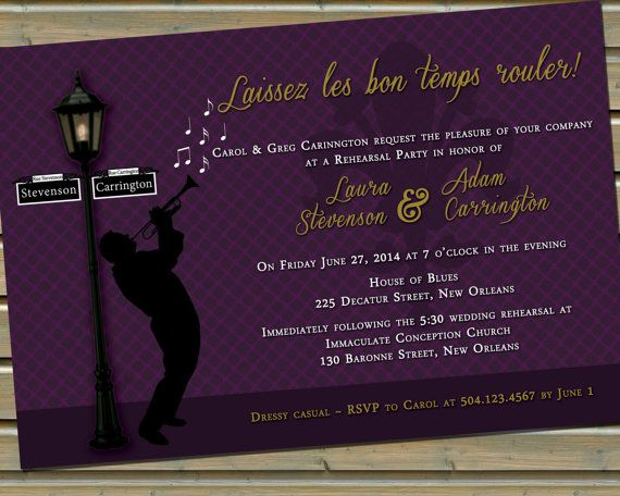 New orleans jazz lamp post invitation with envelopes cream and new orleans jazz lamp post invitation with envelopes cream and gold or purple and gold color schemes stopboris Images