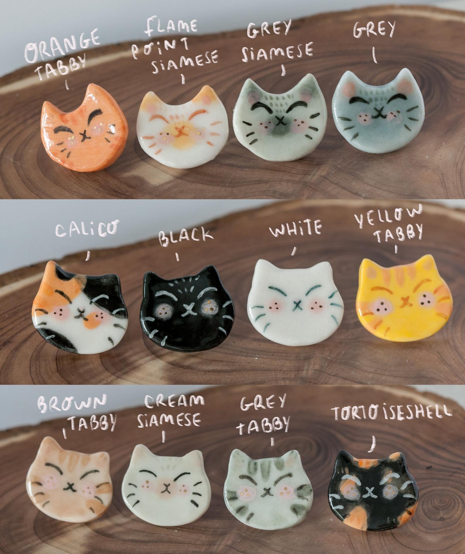 Ceramic cat pin kitten brooch animal lover jewelry Etsy