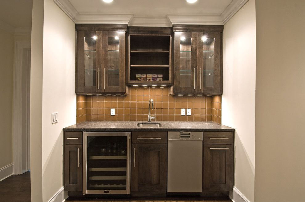 Simple wet bar design with open shelving shaker style for Basement cabinet ideas